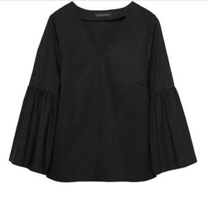 BANANA REPUBLIC Black Bell Sleeve V Neck Top